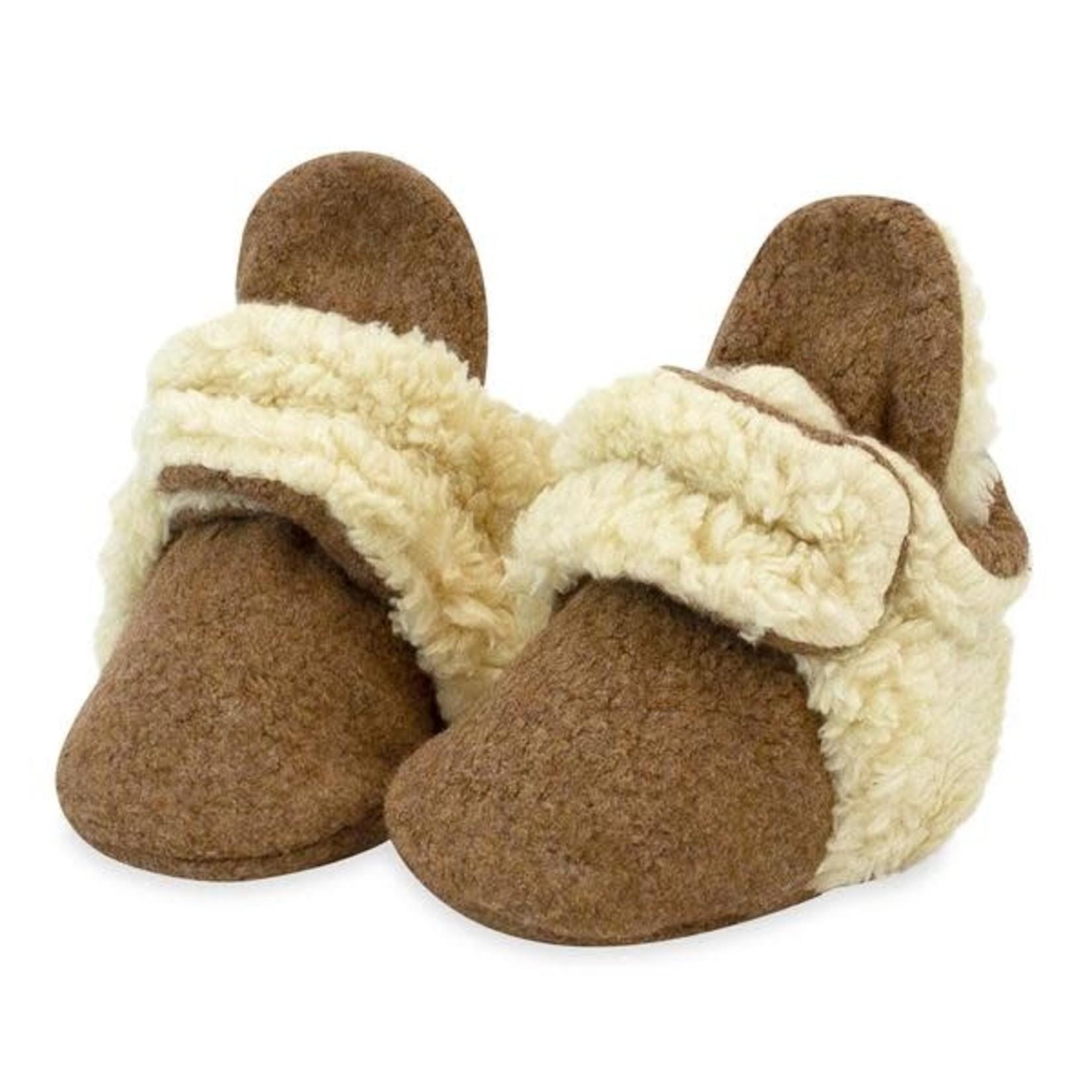 Zutano Cozie Furry Baby Bootie - Heather Mocha