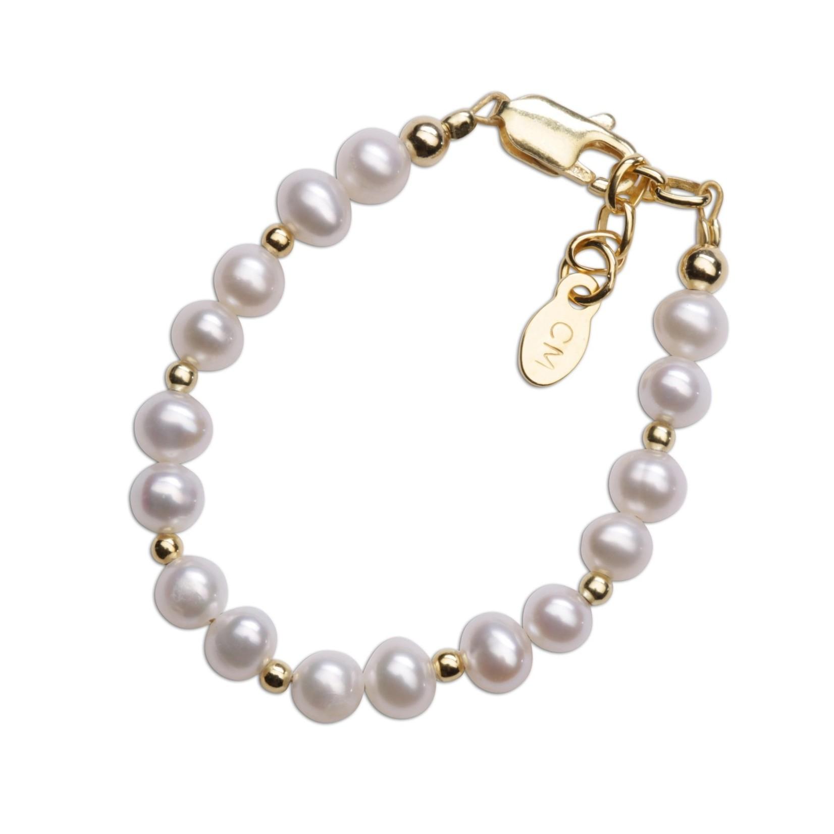 Cherished Moments Brynn - SM - 14K Gold Plated Pearl Baby Baptism Bracelet
