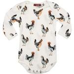 Milkbarn Kids Long Sleeve  Organic Print Bodysuit Chicken