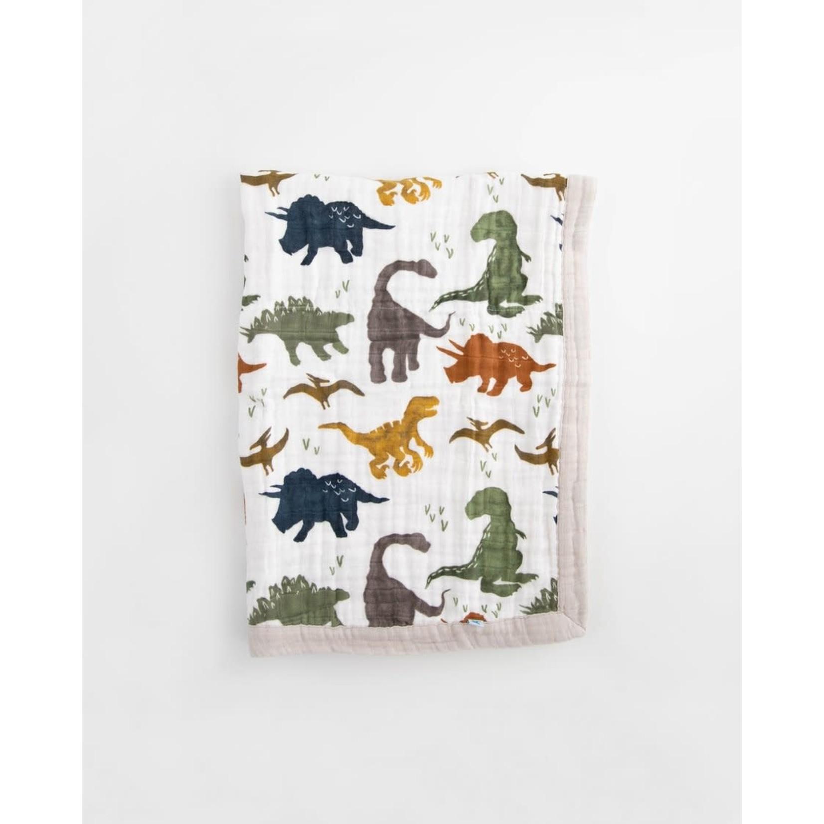 Little Unicorn Cotton Muslin Baby Blanket - Dino Friends
