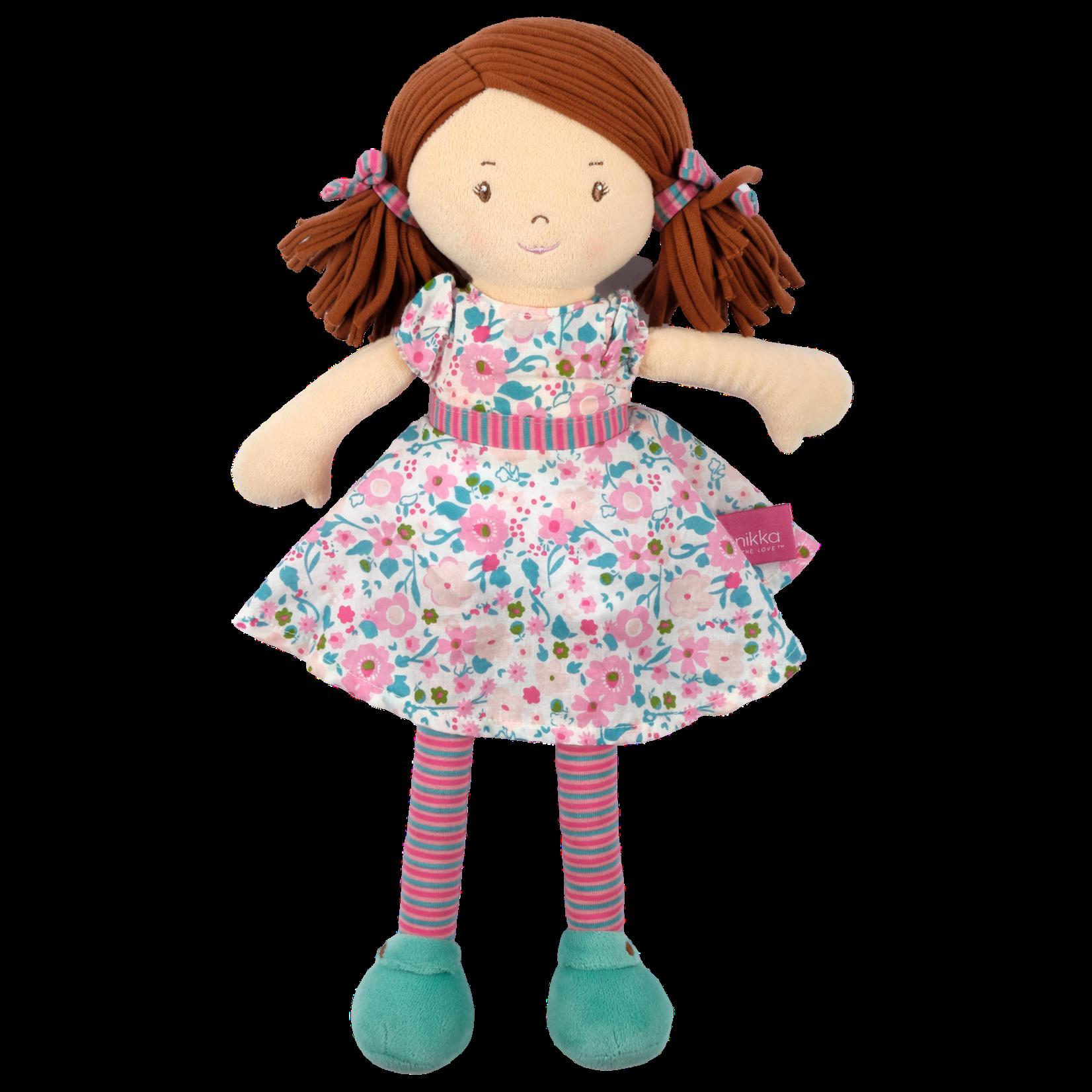 Tikiri Toys Katy Doll - Dark Brown Hair with Pink and  sea Green Dress