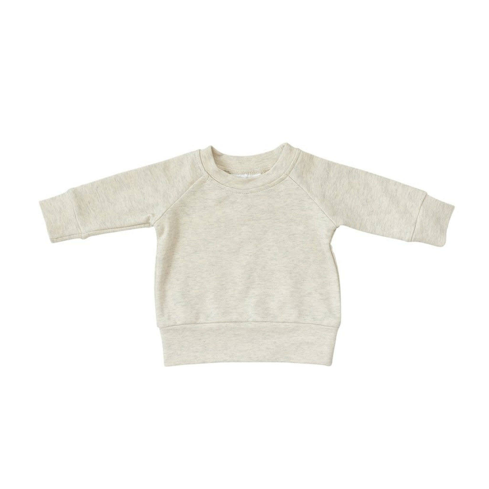 Mebie Baby French Terry Crew Neck - Heather Oatmeal