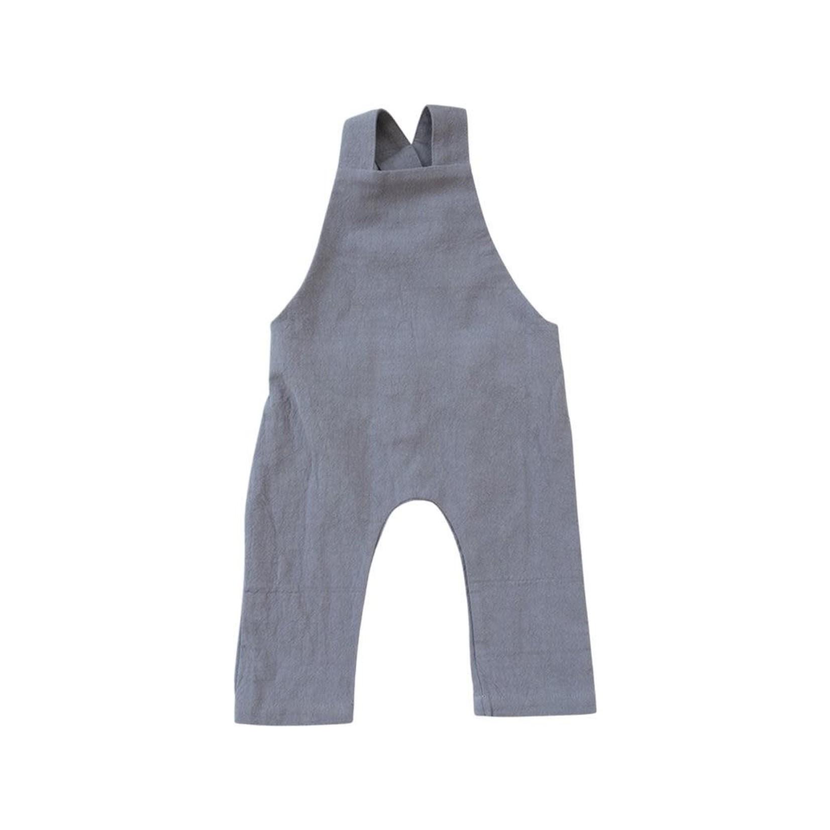 Mebie Baby Cotton Overalls - Grey Linen
