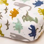 Little Unicorn Brushed Cotton Crib Sheet - Dino Friends