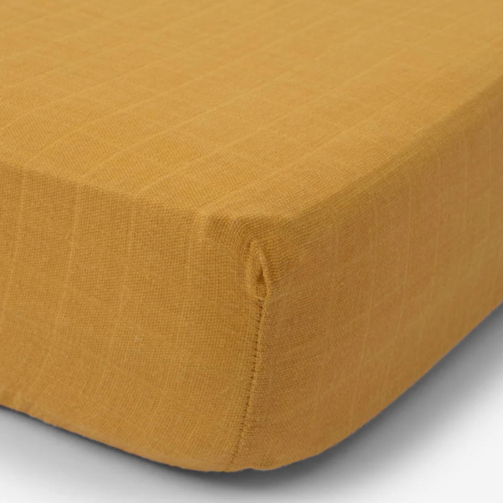 Little Unicorn Cotton Muslin Crib Sheet - Mustard