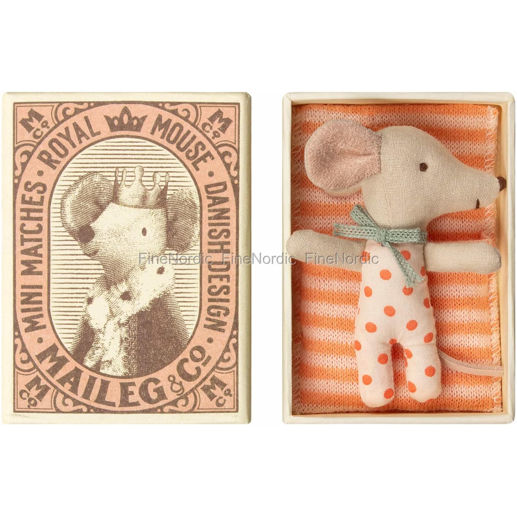 Maileg Baby Mouse, Sleepy/wakey in Matchbox - Girl