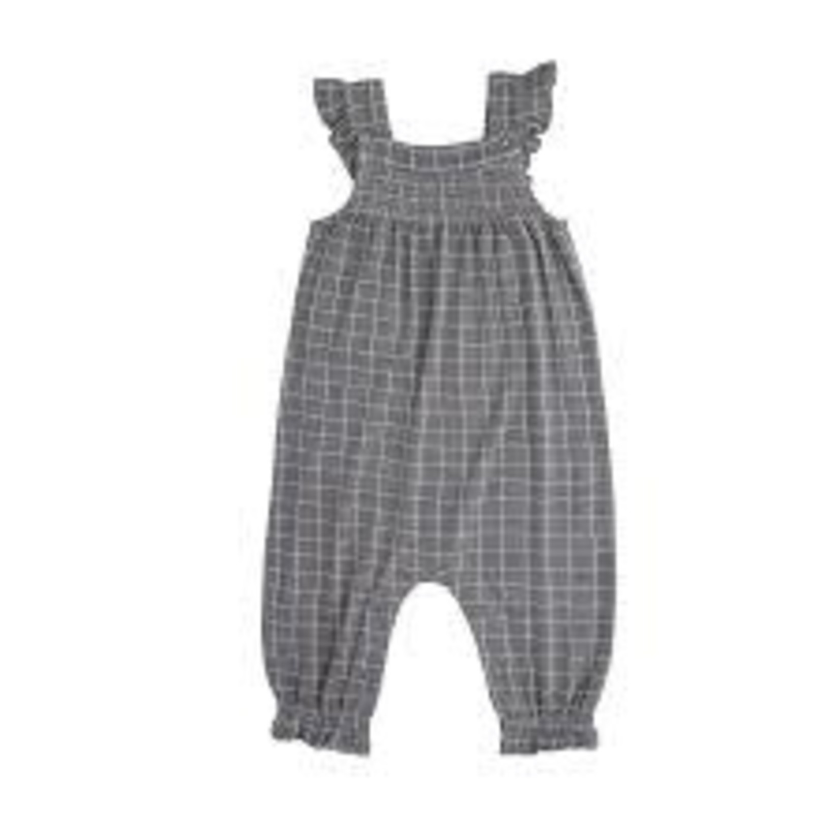 Angel Dear Grey Grid Smocked Front Coverall