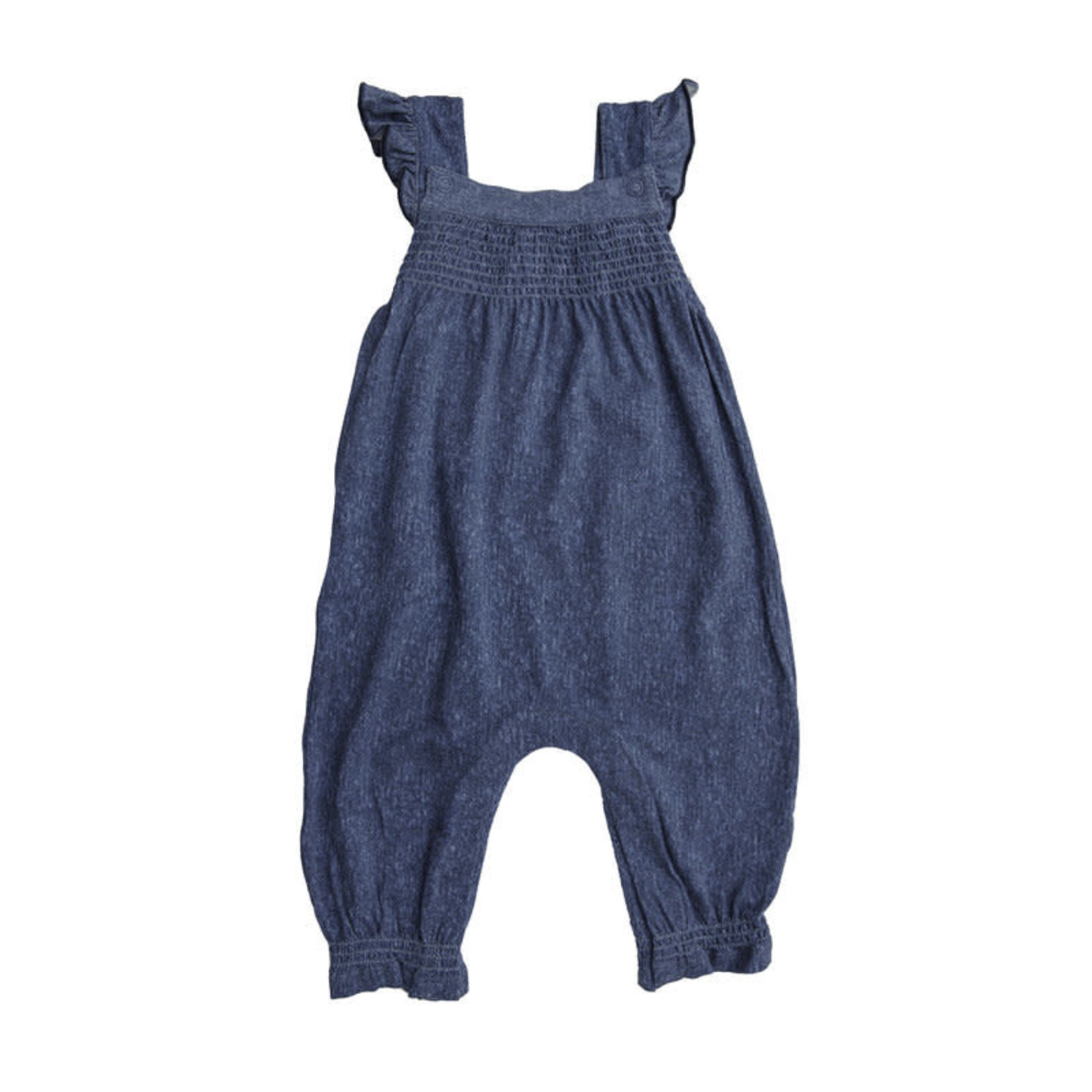 Angel Dear Denim Smocked Front Coverall Blue