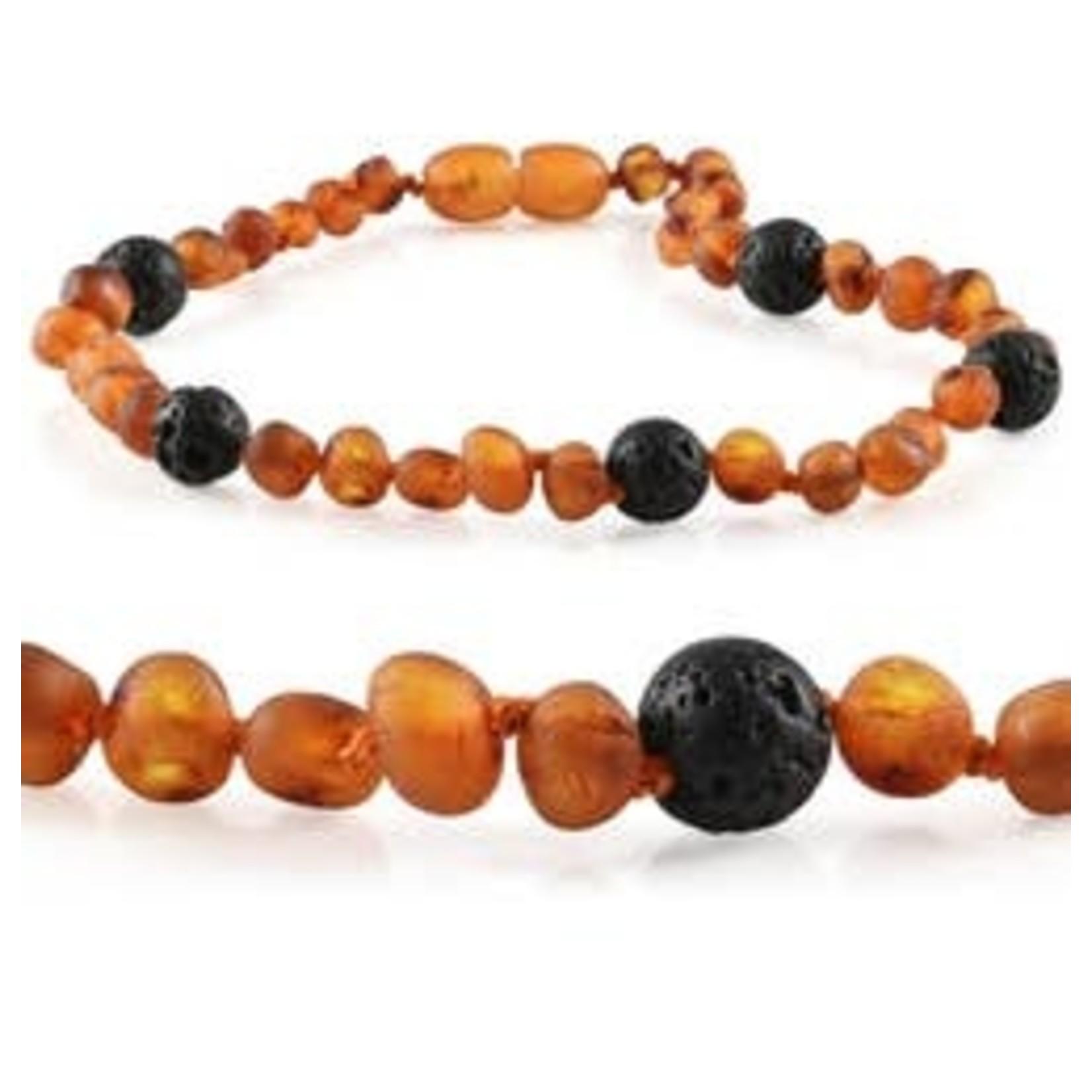 R.B. Amber Jewelry Kids | Baltic Amber Aromatherapy Necklaces Raw Cognac Lava