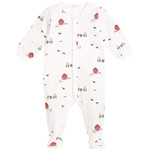 Petit Lem Off-White Little Red Barn Printed Footed Sleeper
