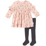 Petit Lem Rose Farmyard Florals Printed Jersey Dress with Tights (2 pcs.)