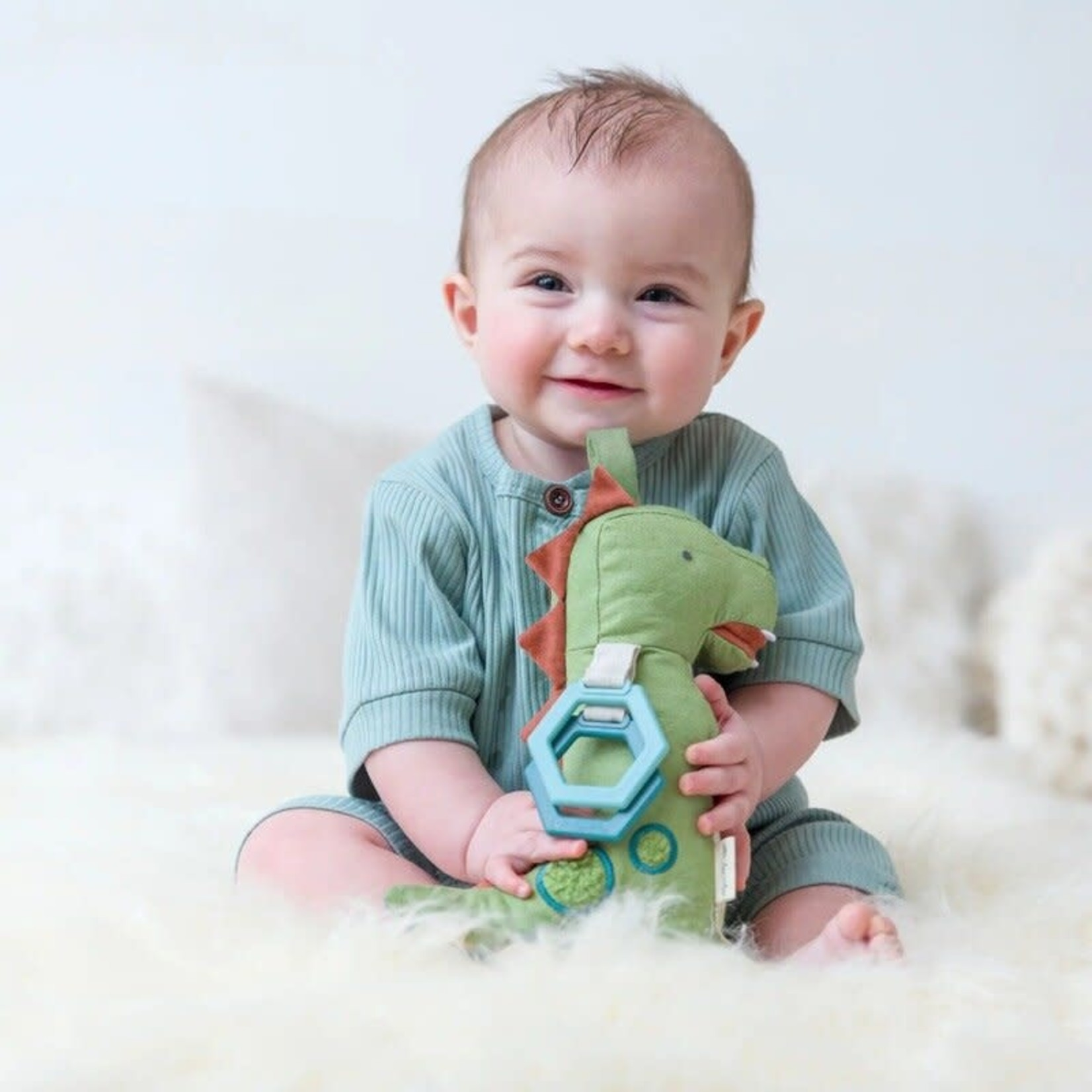 Itzy Ritzy Link & Love Dino Activity Plush Silicone Teether Toy