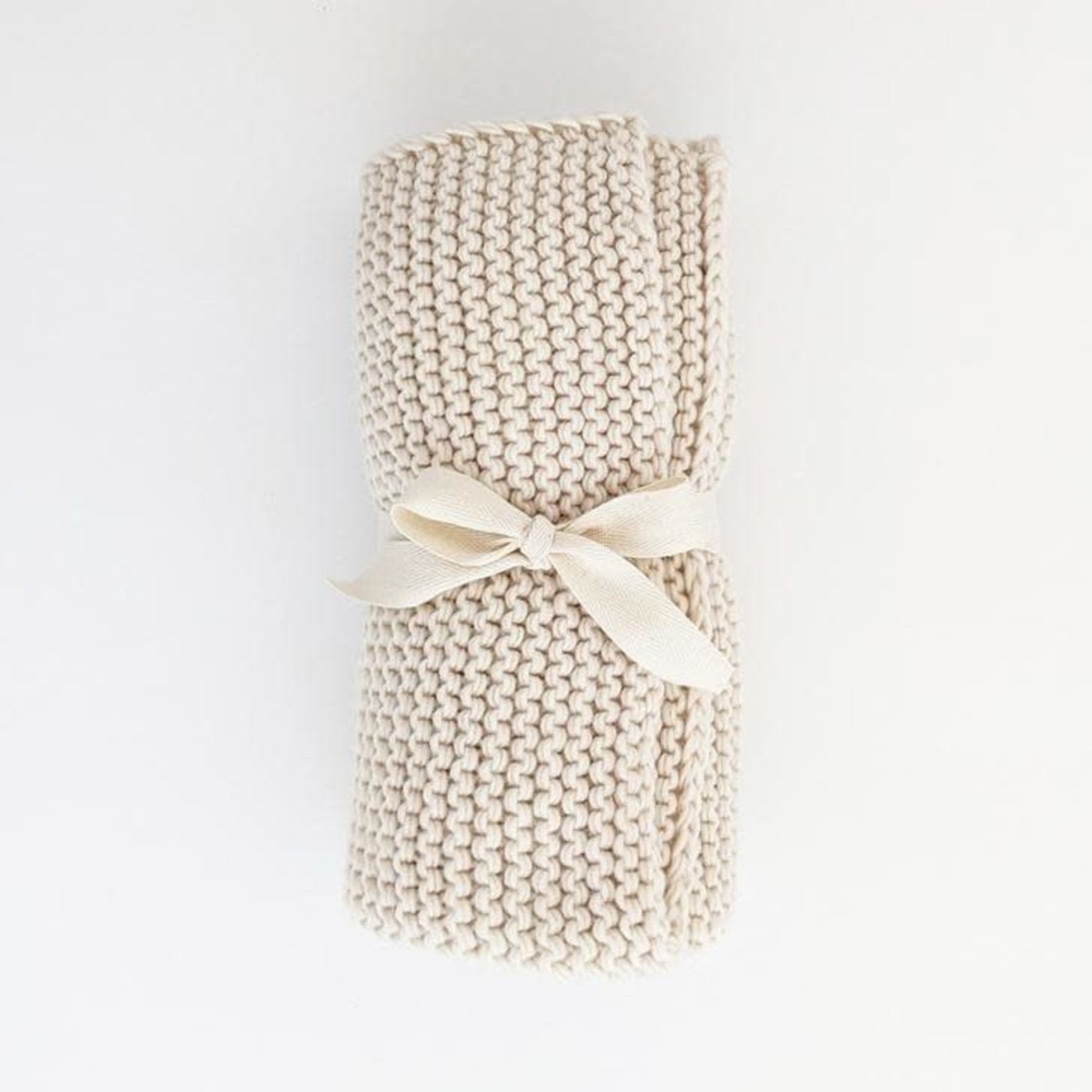 "Huggalugs Natural Garter Stitch Knit Blanket | 24"" x 24"""