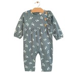 City Mouse Side Button Romper - Teal Puffs