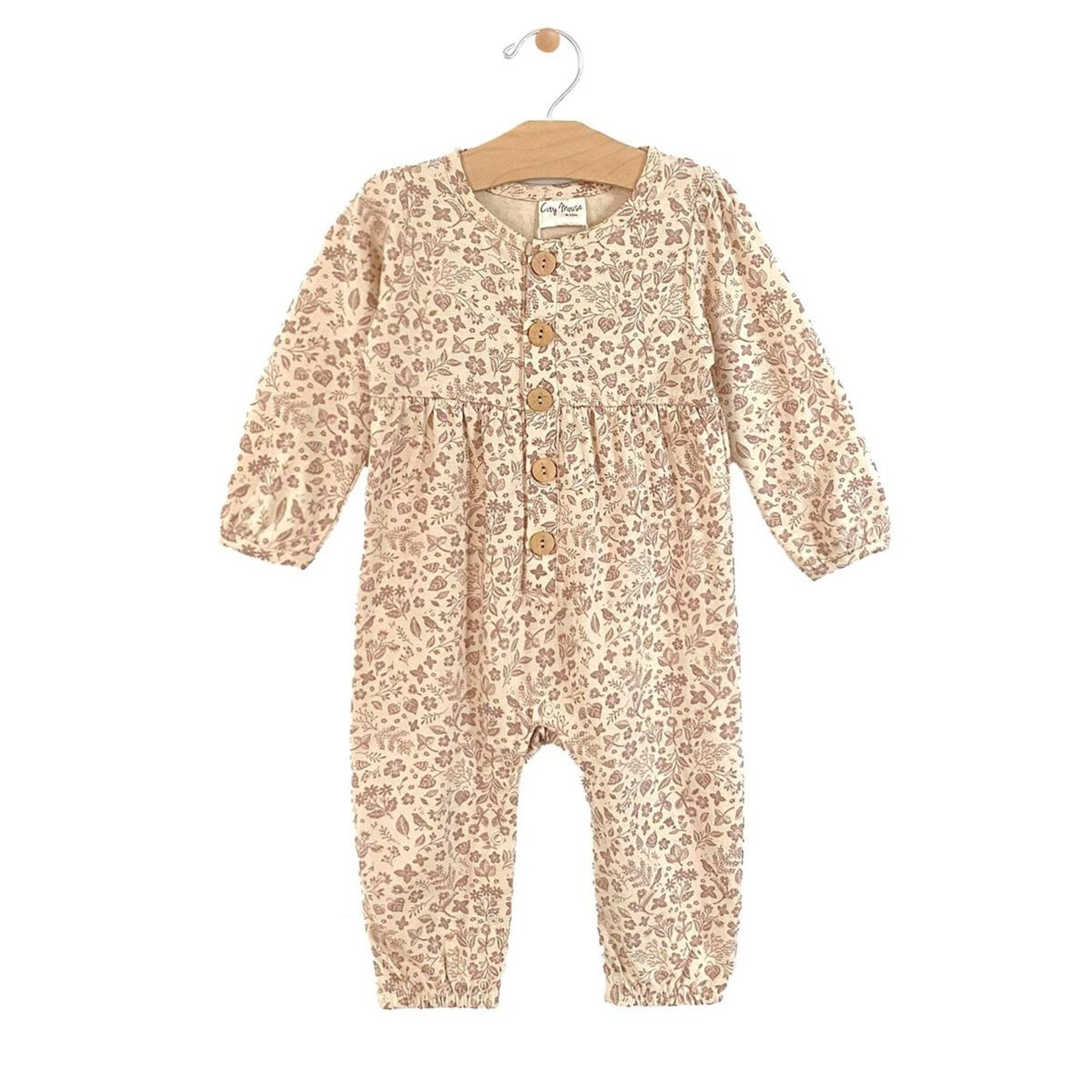 City Mouse Button Gathered Romper - Dusty Rose Garden