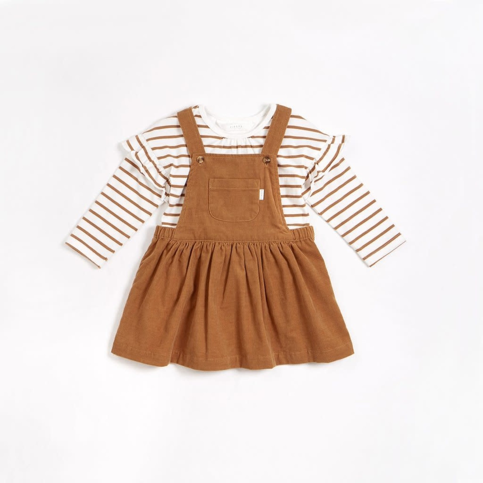 Petit Lem Golden Wheat Mini-Cord Overalls Dress Set with Stripe Top (2 pcs.)