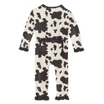 Kickee Pants Print Classic Ruffle Coverall with Zipper Cow Print