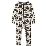 Kickee Pants Print Coverall with Zipper Cow Print