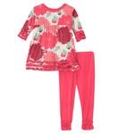 Kickee Pants Print Long Sleeve Babydoll Outfit Set Natural Dahlias