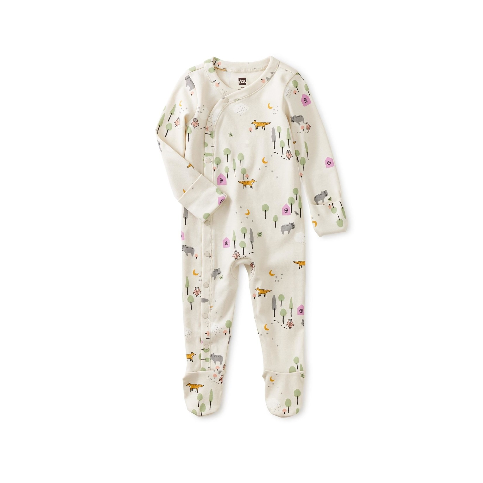 Tea Collection Footed Baby Romper - Forest Scene
