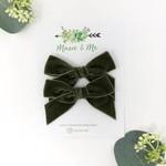 Macie & Me Olive Velvet Bows Pigtail Set