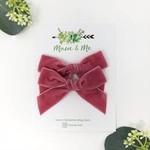 Macie & Me Rose Velvet Bows Pigtail Set