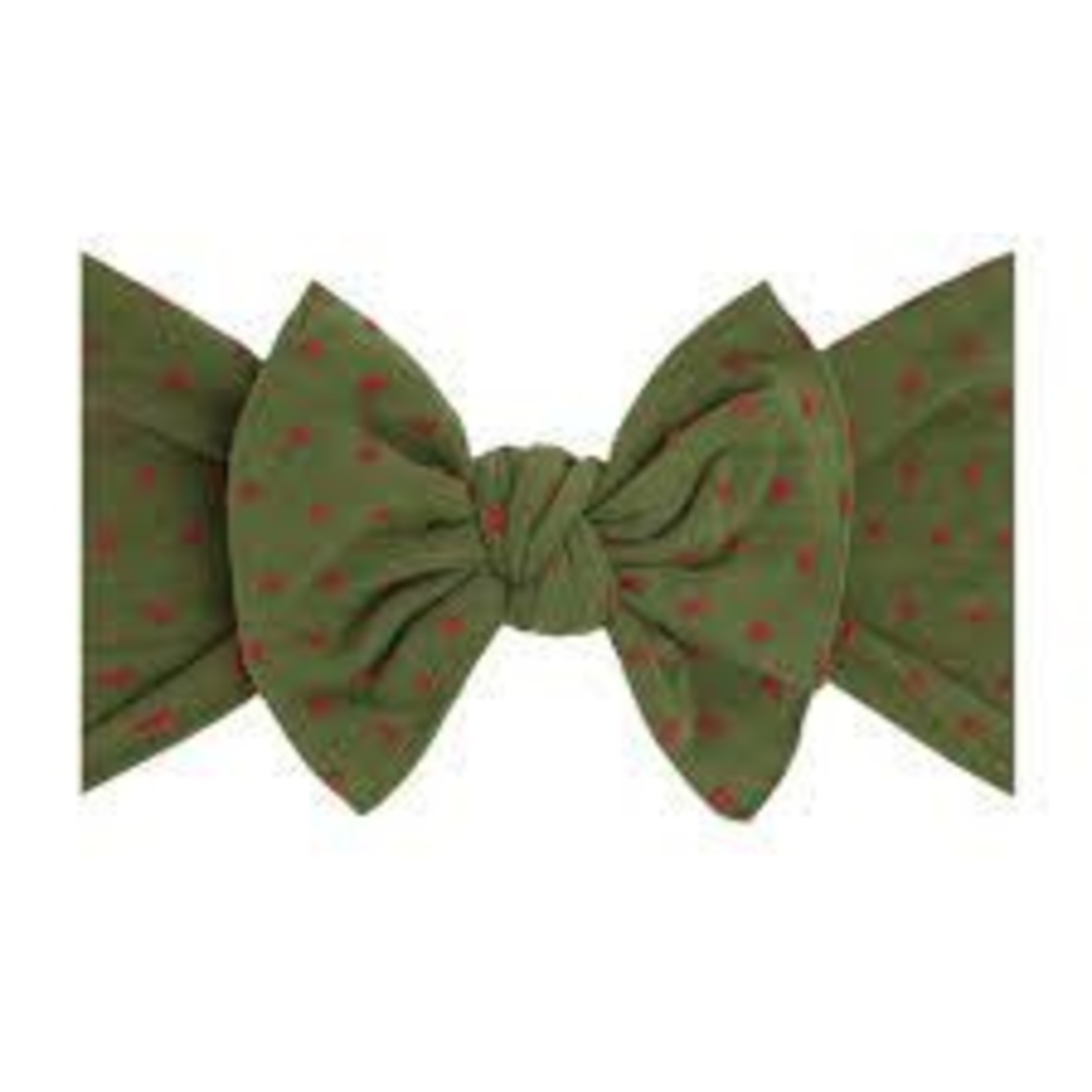 Baby Bling Bows Patterned Shabby Knot: Hunter/Red Dot
