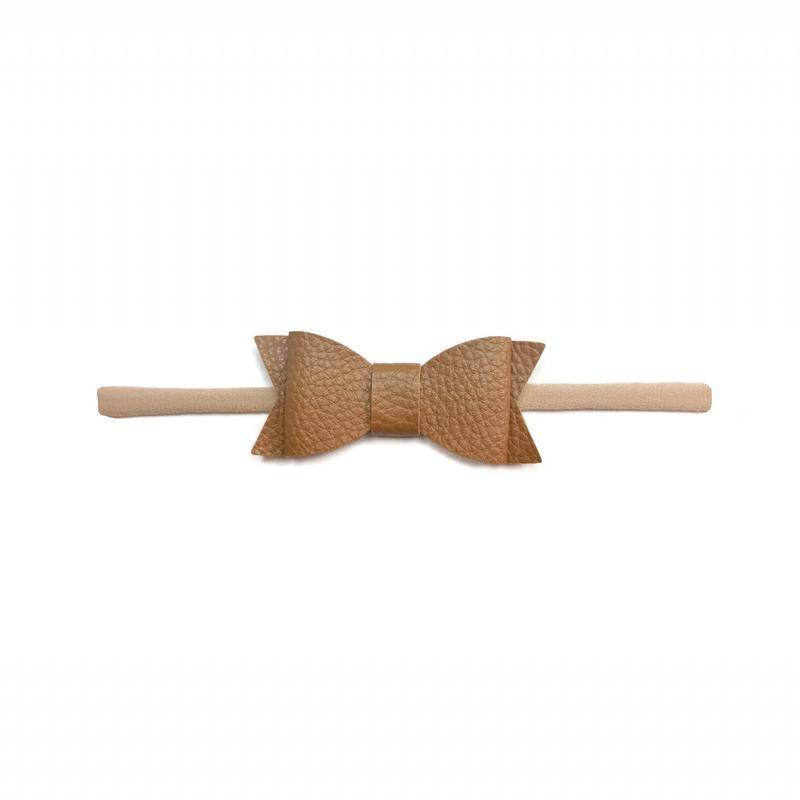 Baby Bling Bows Leather Bow Tie Skinny - Camel
