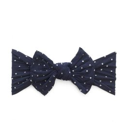 Baby Bling Bows Patterned Knot (Navy Dot)