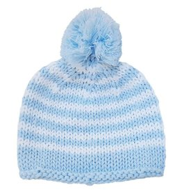 Huggalugs Pom Pom Stripe Beanie - Blue
