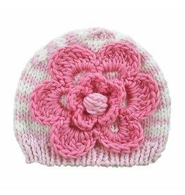 Huggalugs Fleur Pink Flowered Beanie
