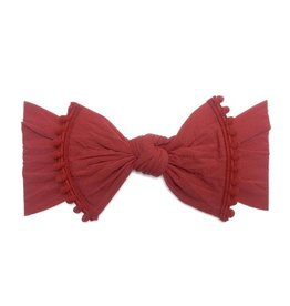 Baby Bling Bows Trimmed Classic Knot - Cherry Pom