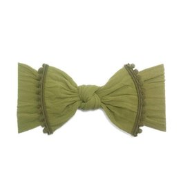 Baby Bling Bows Trimmed Classic Knot (Olive Pom)