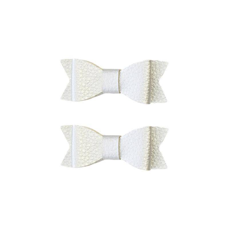 Baby Bling Bows Leather Bow Tie Clips 2 pack - Silver