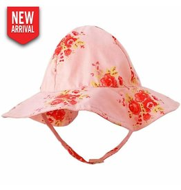 Huggalugs Rose Flowers on Pink UPF 50+ Sunhat