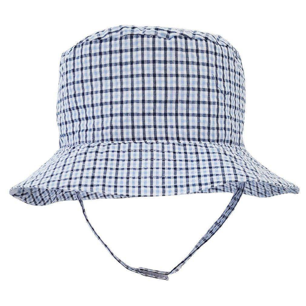 1a1042f37eb Huggalugs Blue Plaid Seesucker UPF 25+ Bucket Hat - Kicks and Giggles