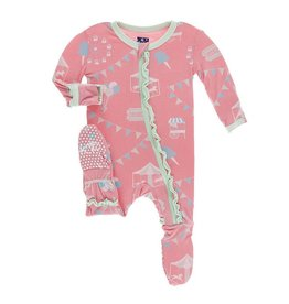 Kickee Pants Kickee Pants Layette Classic Ruffle Footie with Zipper: Strawberry Carnival NB