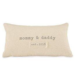 Mud Pie Mommy Daddy Est. 2018 Pillow