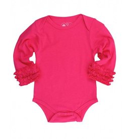 RuffleButts RuffleButts Ruffled Long Sleeve Layering Bodysuit Candy 3-6M