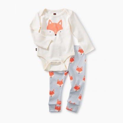 Tea Collection 2-Piece Bodysuit Baby Outfit - Fox Chalk