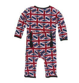 Kickee Pants Print Coverall with Snaps Union Jack