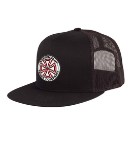 Independent Red White Cross Mesh Trucker Cap
