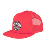 Independent Red White Cross Mesh Trucker Cap - red