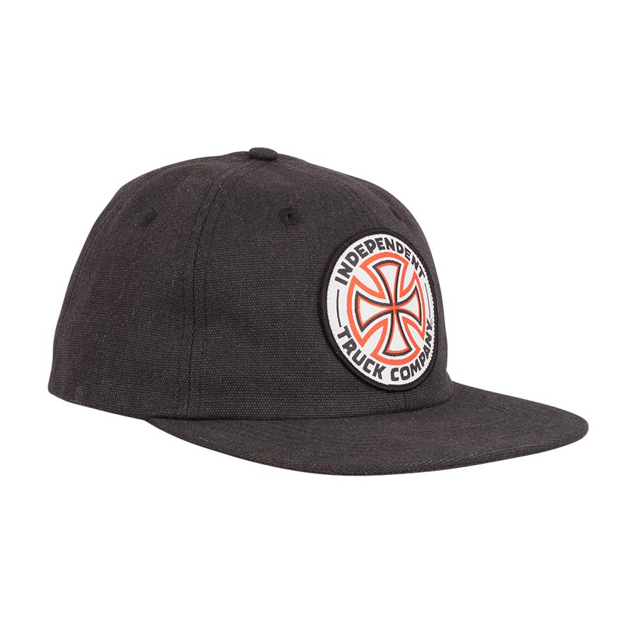 Independent Red White Cross Snapback Cap - black