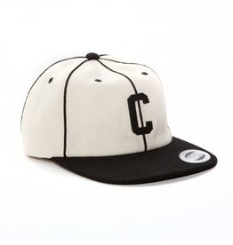 Chocolate Pinstripe C Wool Cap - White