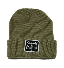 CROOKS & CASTLES OLIVE REVERSE CORE PATCH BEANIE
