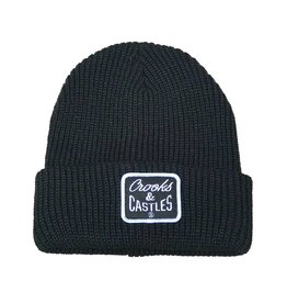 CROOKS & CASTLES BLACK REVERSE CORE PATCH BEANIE