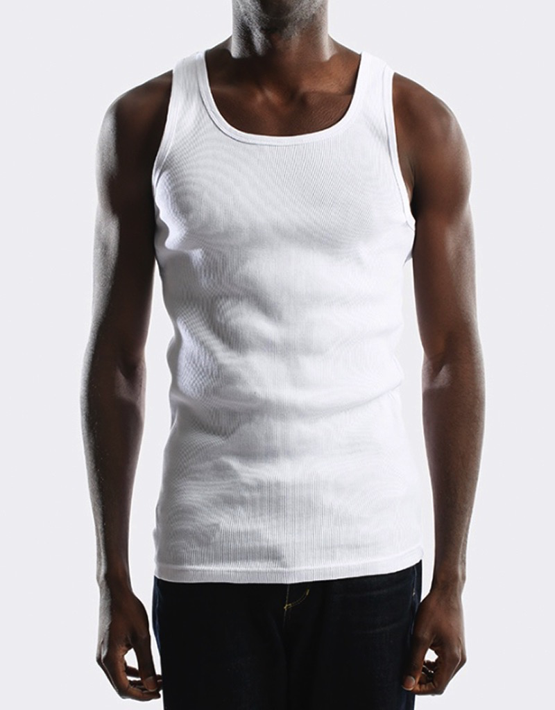 CITY LAB WHITE RIBBED TANK TOP