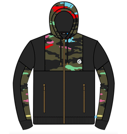 Cookies ESCOBAR FLEECE ZIP HOODY W/ CAMO PIECING AND COOKIES CROPPED APPLIQUE