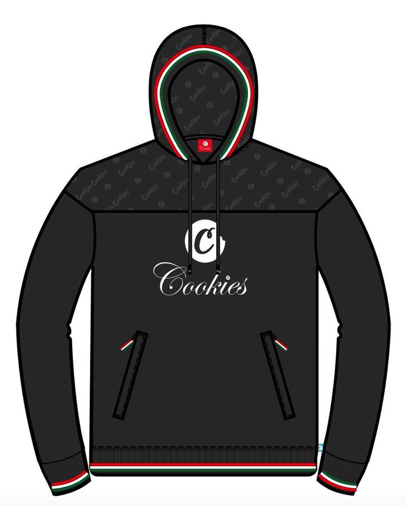 Cookies PRESIDIO FLEECE PULLOVER HOODY W/ TRI-COLOR PIPING AND MONOGRAM PRINT & ZIPPER POCKETS